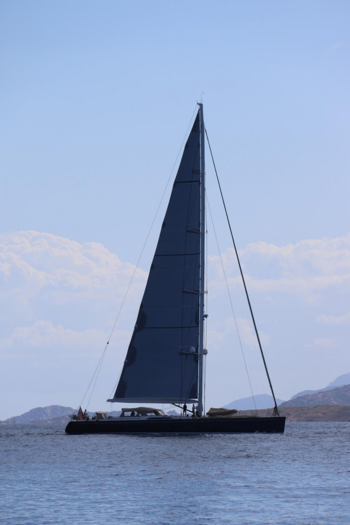 Another large yacht sails by