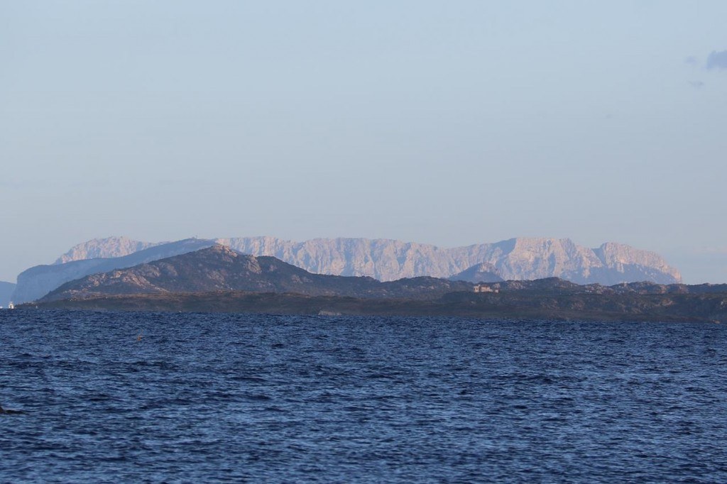 In the distance we can see the mountains of Sardinia