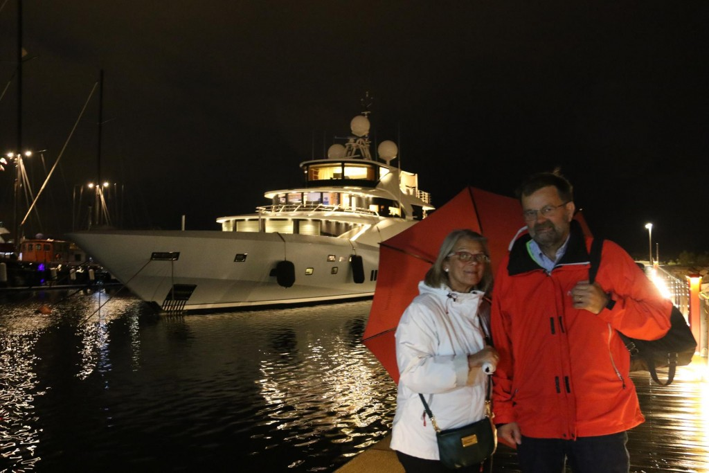 With umbrellas in hand and jackets on we brave the elements and go ashore to one of the restaurants for dinner