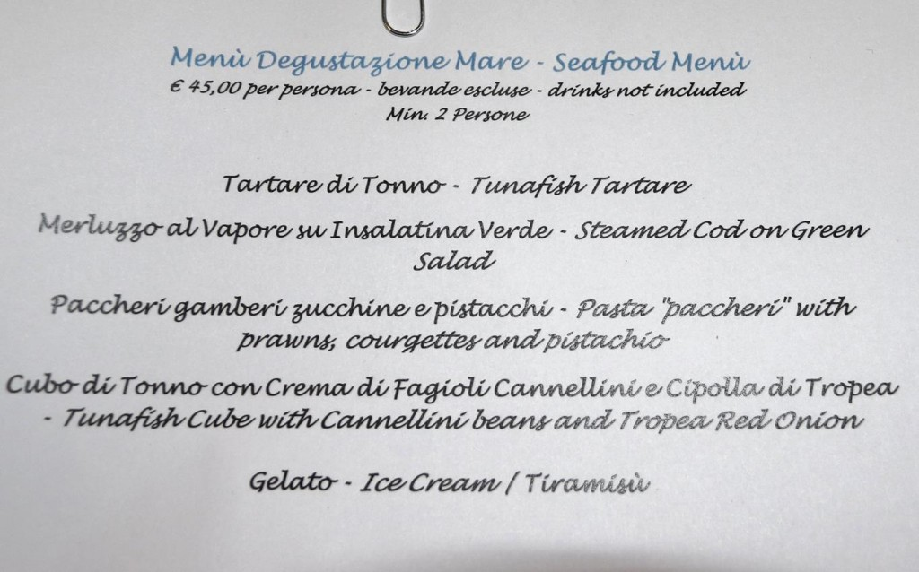 Lotta and I chose the seafood degustation menu