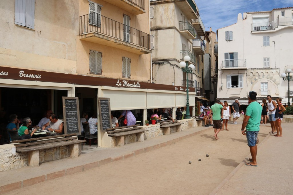 La Manichella high up in the old town is a great place for lunch and a game of Pentanque