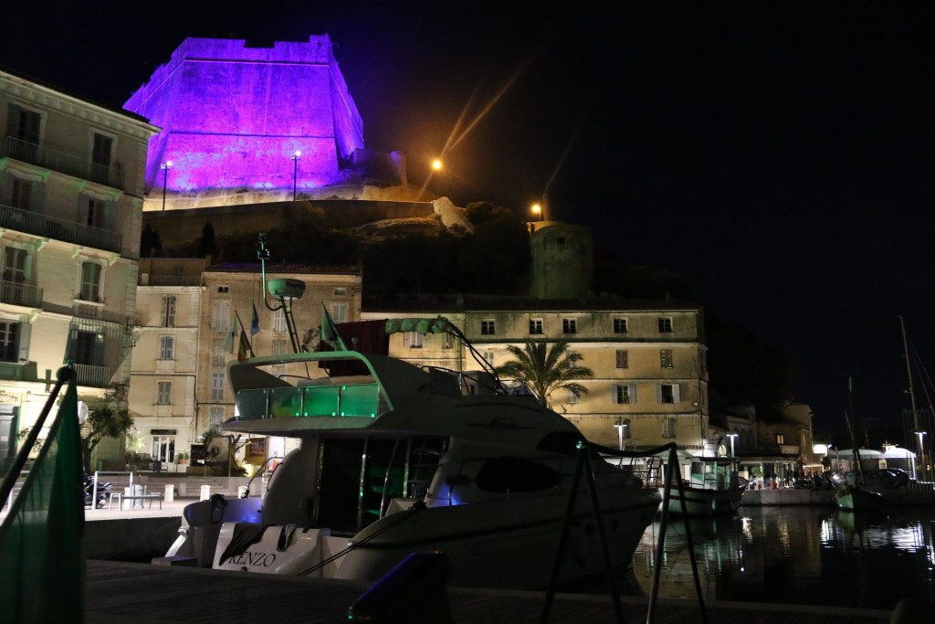 The fortress above the harbour is lit up once again with changing colours every few minutes