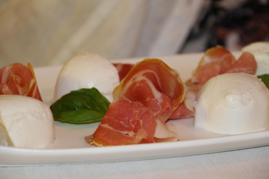 Rod and Kate started with buffalo mozzarella and pancetta
