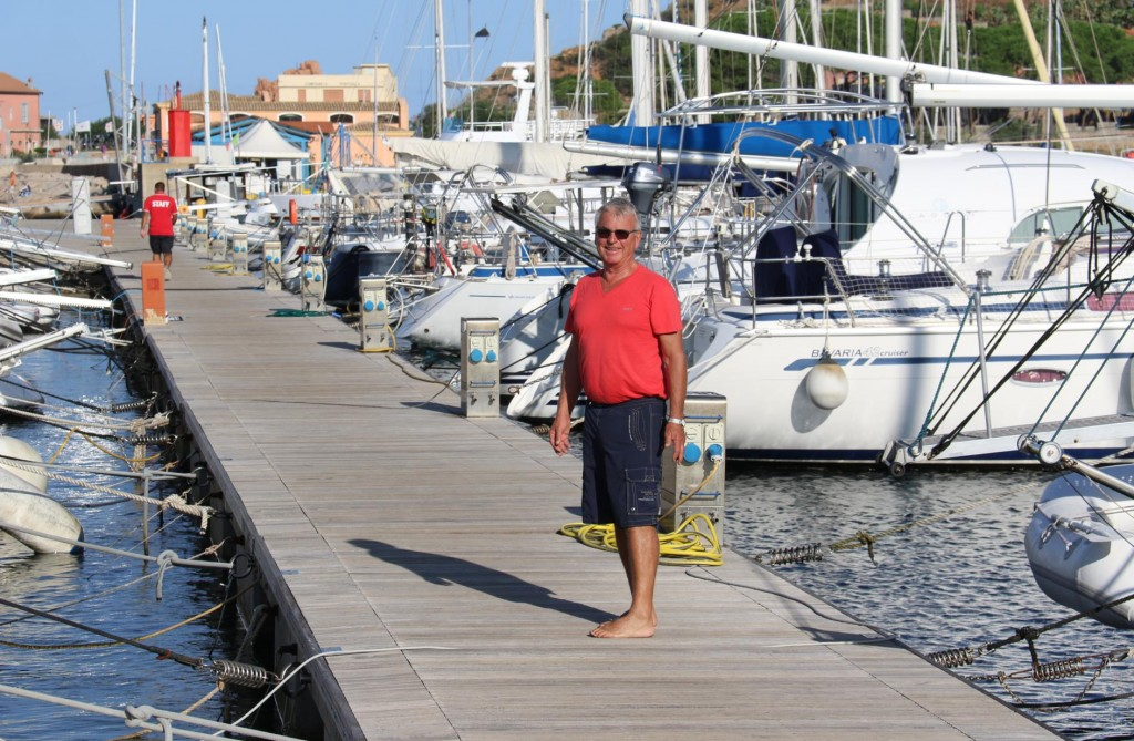 We are berthed between many local boats in the marina