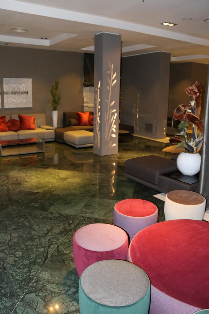 The attractive foyer of the modern Catalonia Hotel in Madrid where we had 3 delightful days