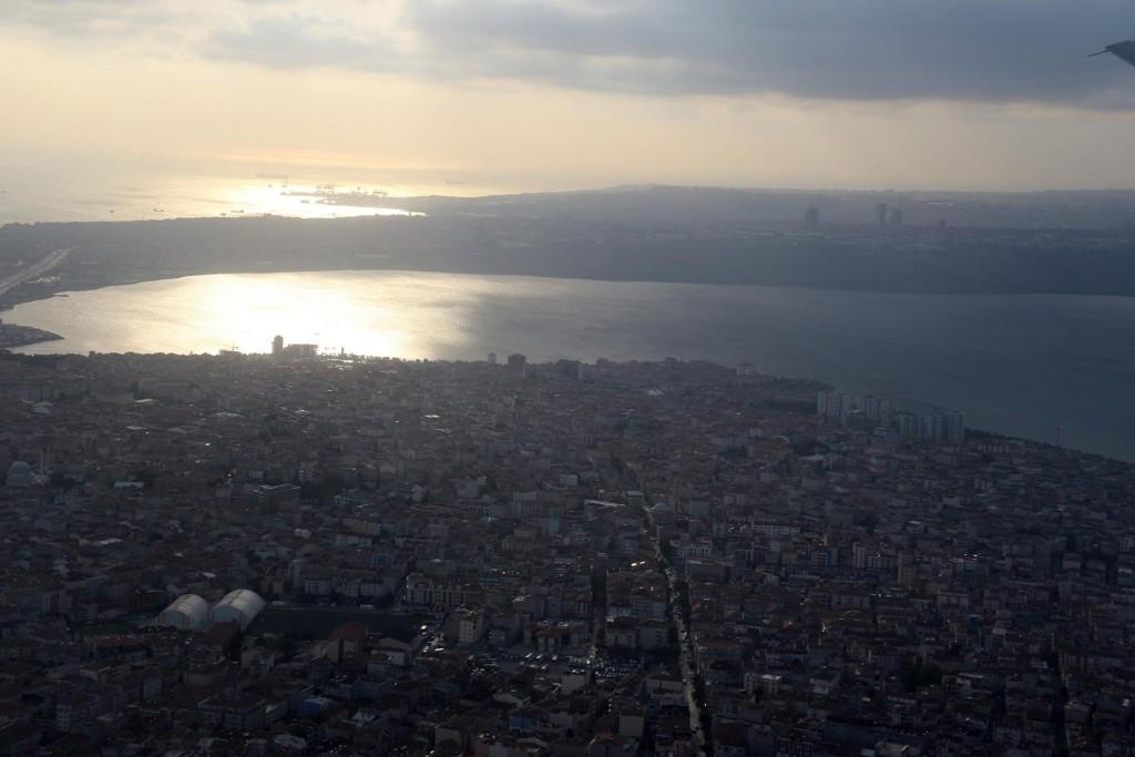 As we depart Istanbul we fly over the Bosphorus