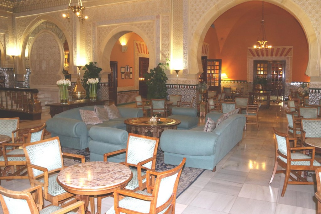 The very comfortable hotel guest lounge area