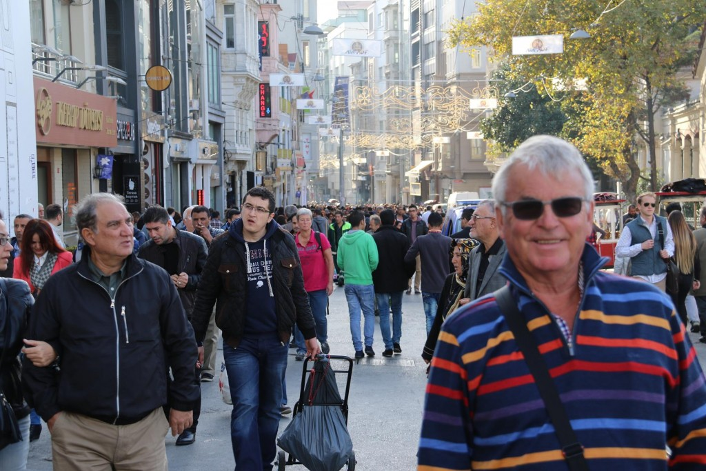 As always the famous shopping street, Istikal Caddesi off Taksim Square is as busy as ever