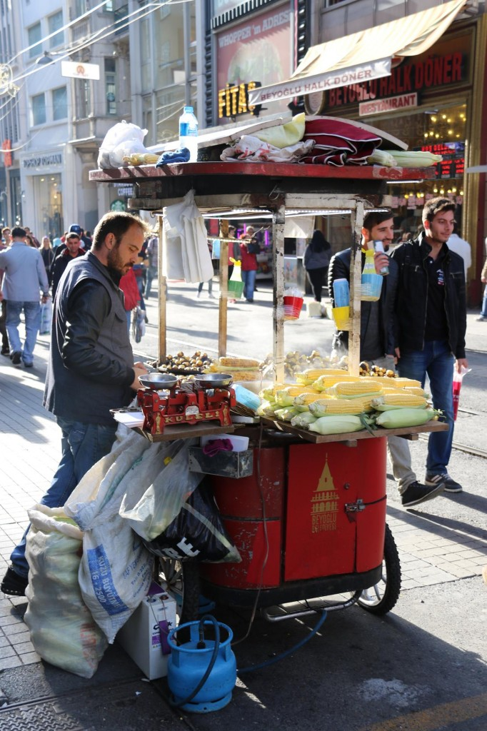 Roasted chestnuts and grilled corn are popular street food in Turkey