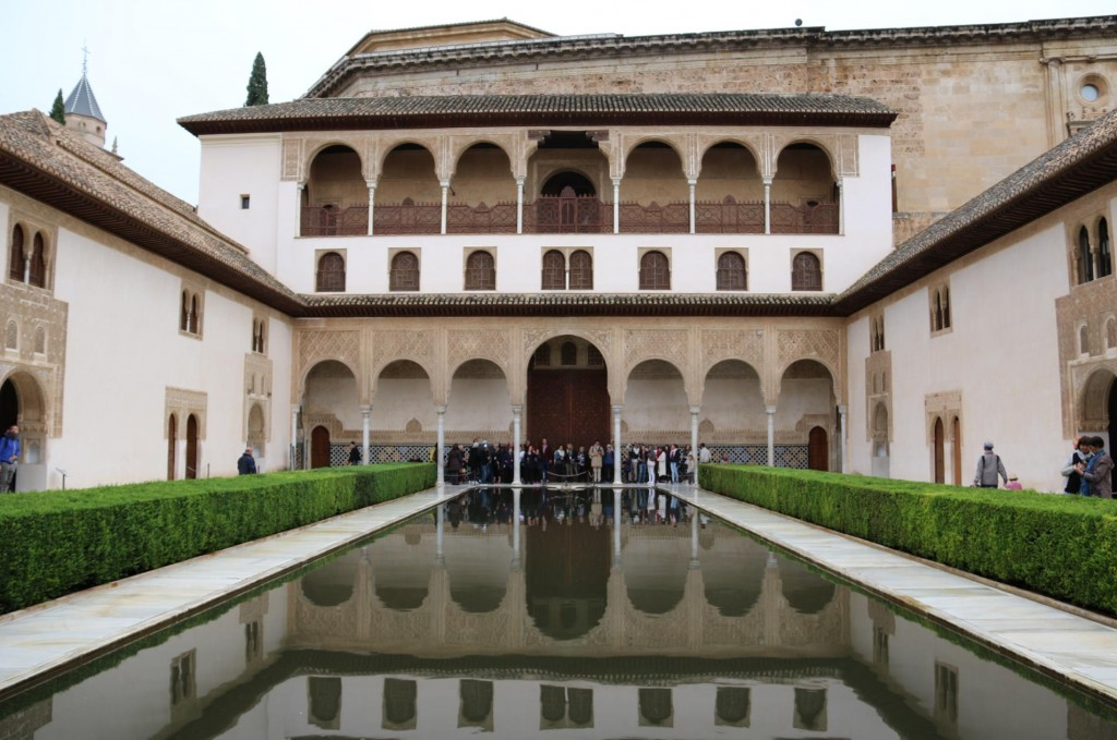 The Courtyard of the Myrtles with the South Gallery mirrored in the still water of the central pool