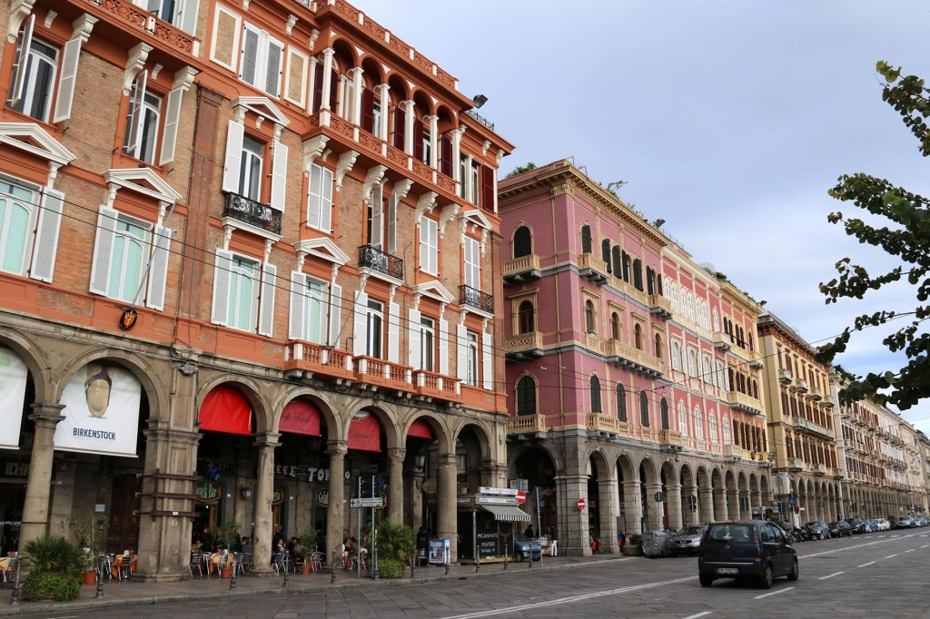 A popular shopping and cafe area of Cagliari