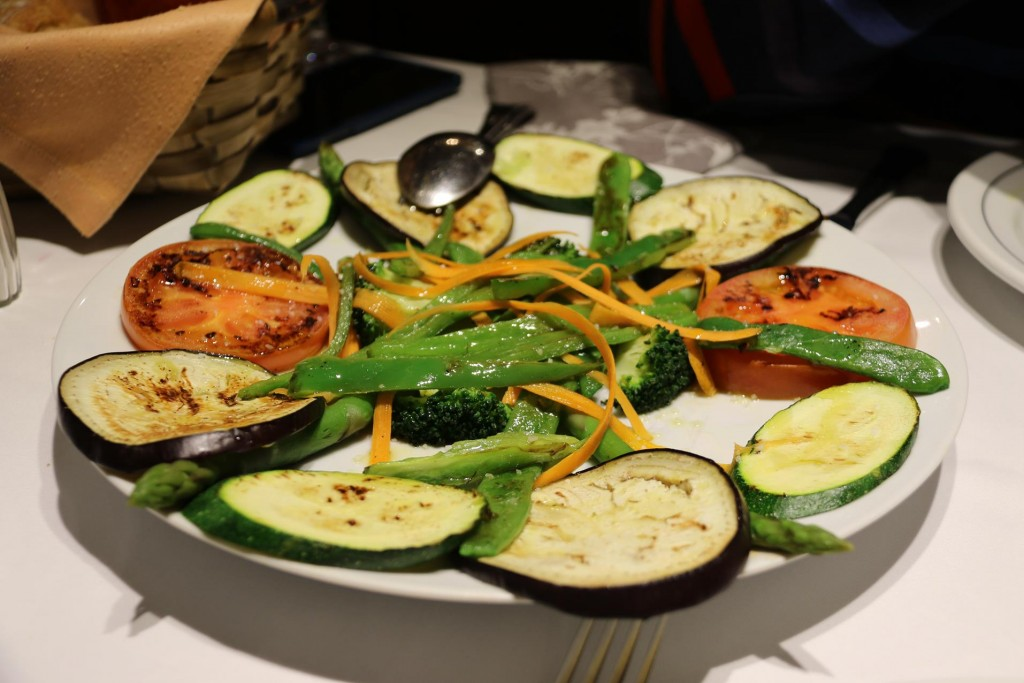 Plenty of grilled vegetables to accompany our steak