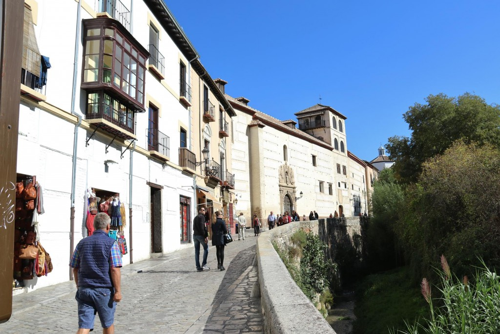 We head along the Carrera del Darro, a sinuous cobbled street that follows the course of the River Darro
