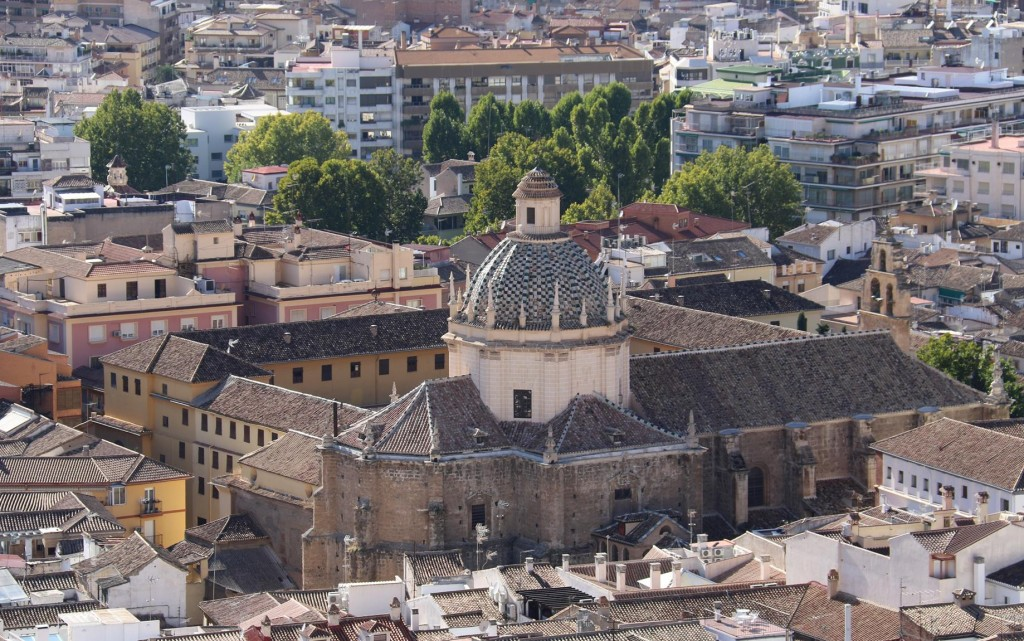 The Cathedral of Granada clearly dominates the low lying town
