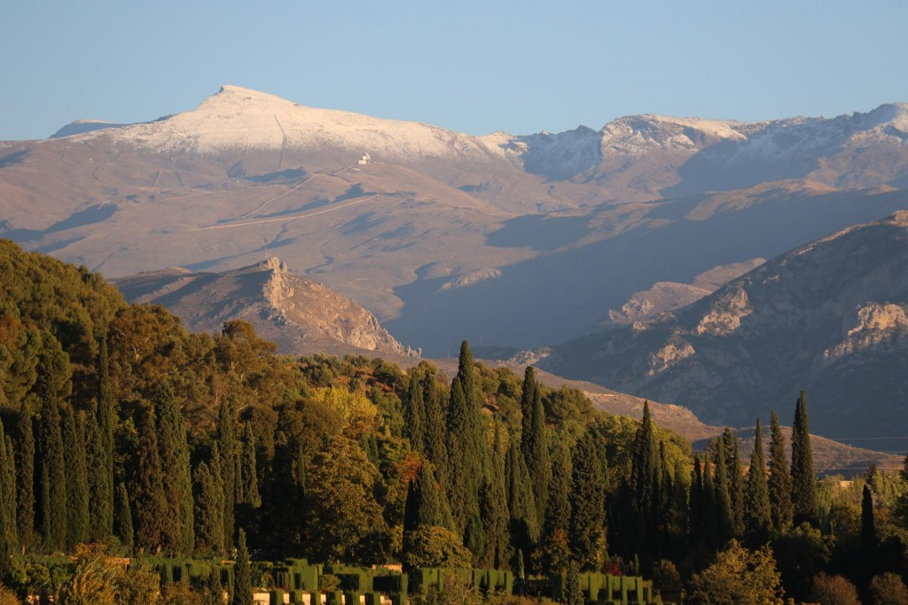 Spectacular views of Sierra Nevada with the Generalife of Alhambra in the foreground