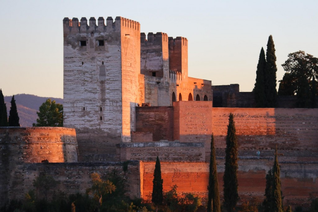 The buildings of Alhambra were glowing in the late sun