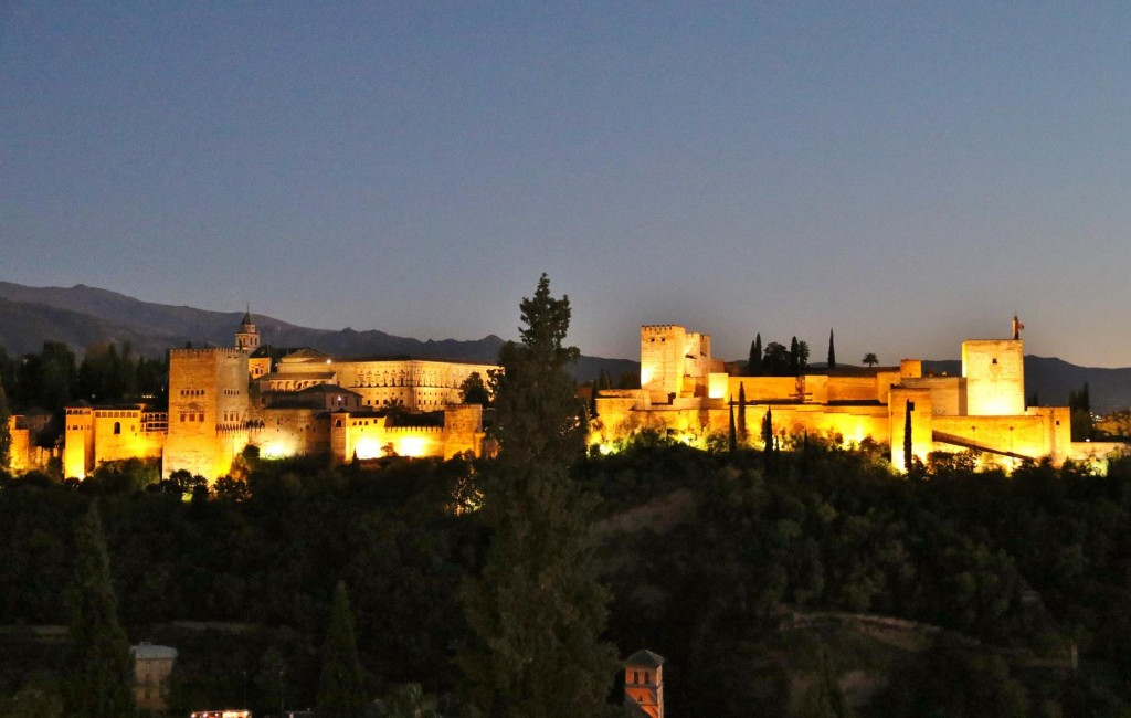 The Alhambra glowing in the evening light