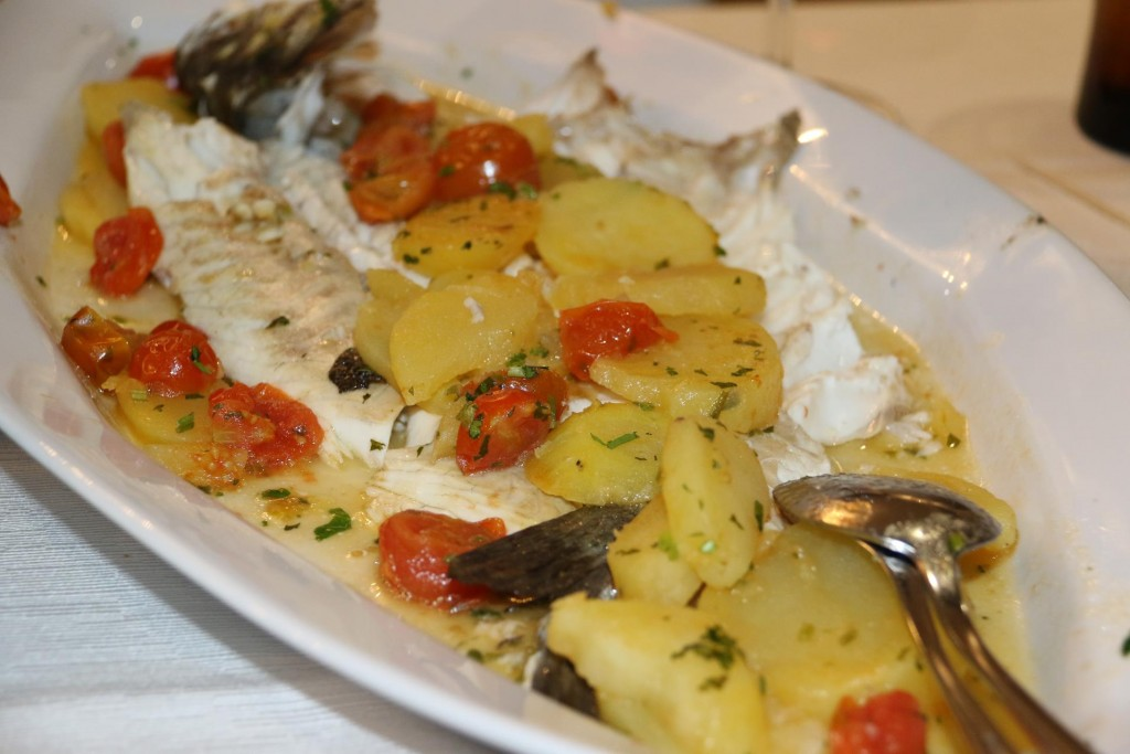 Our Sardinian favourite, fish in the oven with potato and tomato
