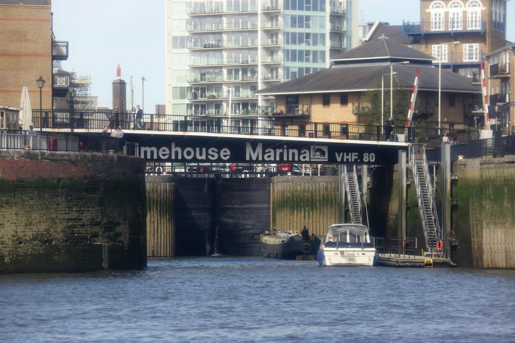 We pass Limehouse Basin and our accommodation at the Cruising Association Building