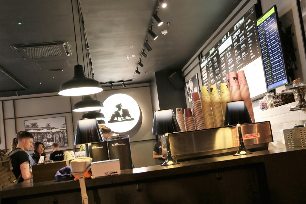 """At Stanford Airport in London we stop for a coffee and a juice at a cool place called """"Joe and the Juice"""""""