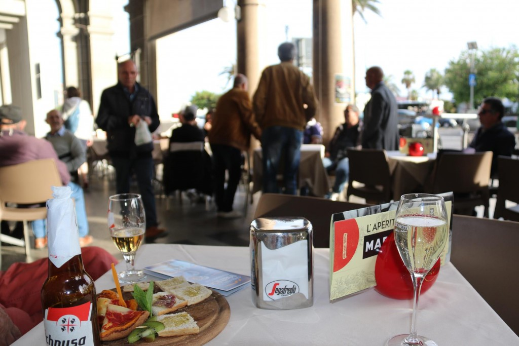We decide to have a drink and have an early dinner in Cagliari before going back to the hotel