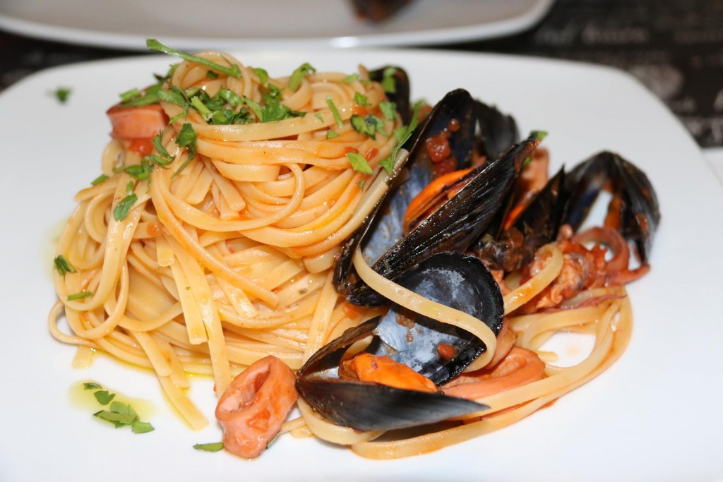 Delicious seafood pasta to share