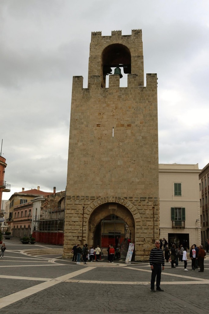 The clock tower in the main square of Oristano