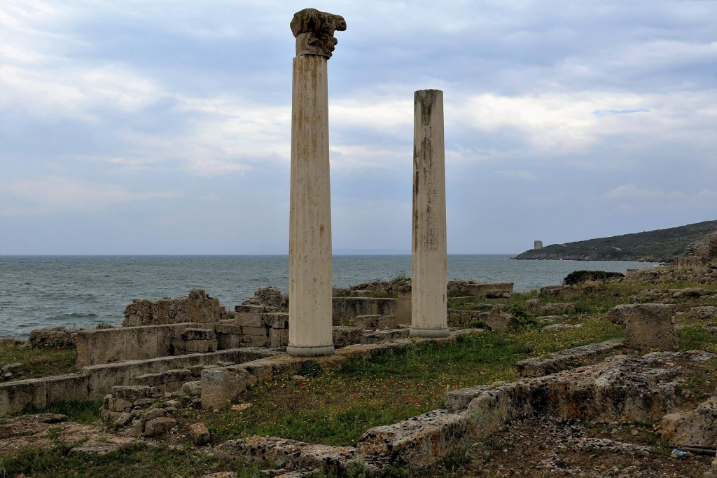 Two columns remain of what would have been a sunstantial building in it's time overlooking the sea