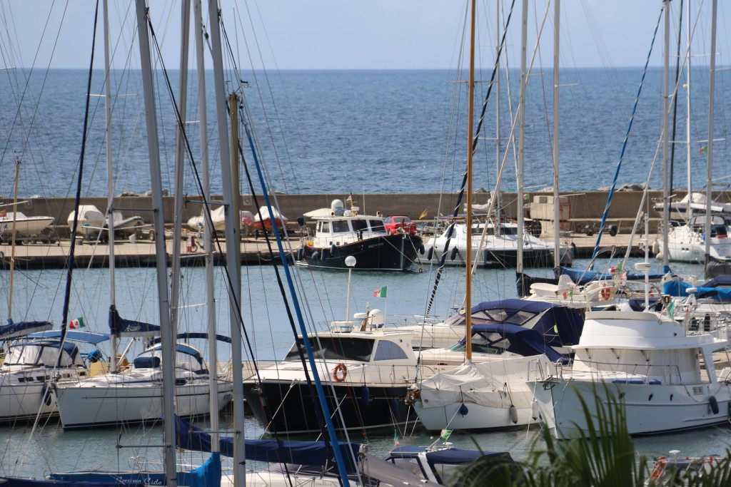 We could clearly see the Tangaroa in Marina di Capitana from our room at the Hotel Sighientu