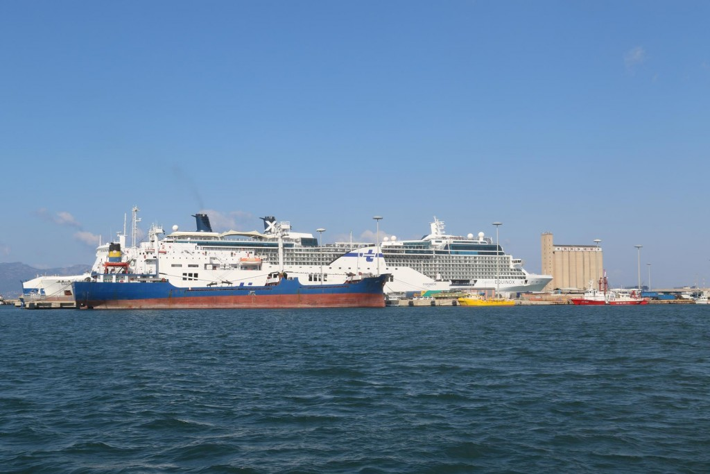 A couple of large cruise ship are in the port today