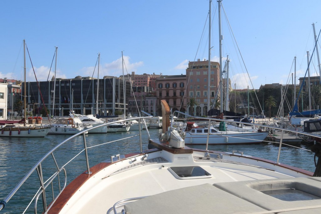 We radio in and organise a berth in the Karalis Marina beside the commercial port