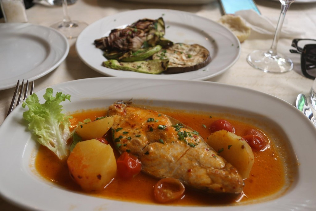 The swordfish baked with potatoes in a sauce was wonderful