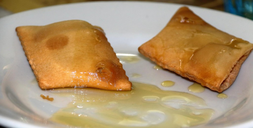 The typical Sardinian cheese filled dessert with honey