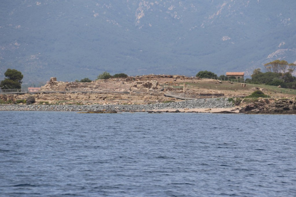 We pass part of the ancient site of Nora with it's ancient ruins and one standing column which clearly can be seen