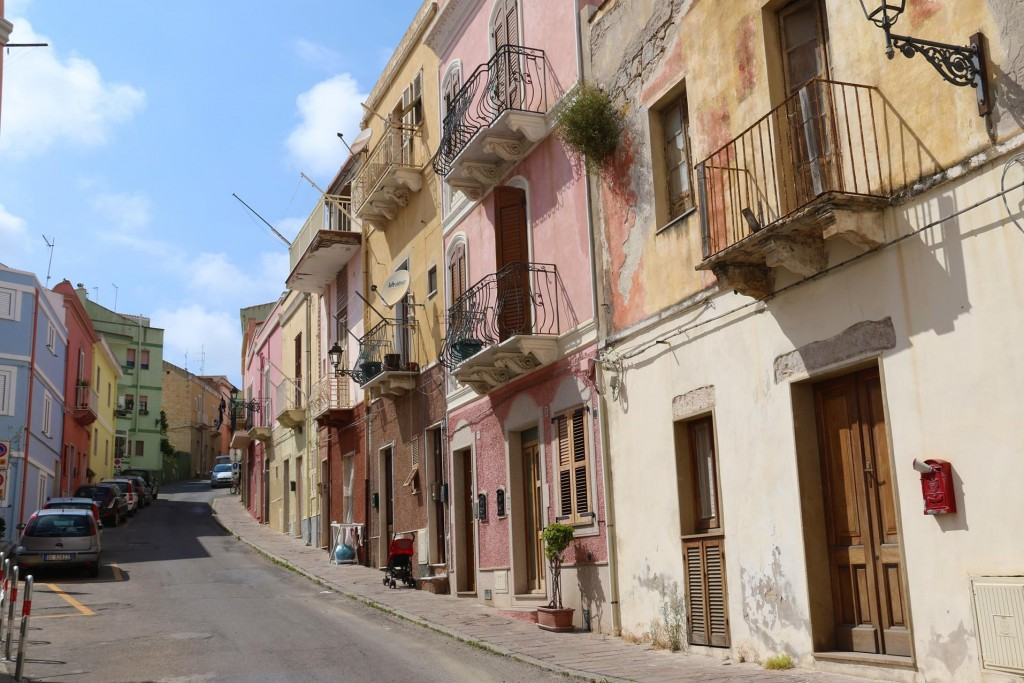 The pastel houses of Carloforte are very attractive with their wrought iron balconies