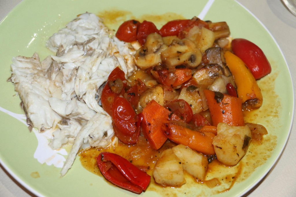 Our delicious fish is cooked in wine and stock with potatoes, tomatoes and vegetables