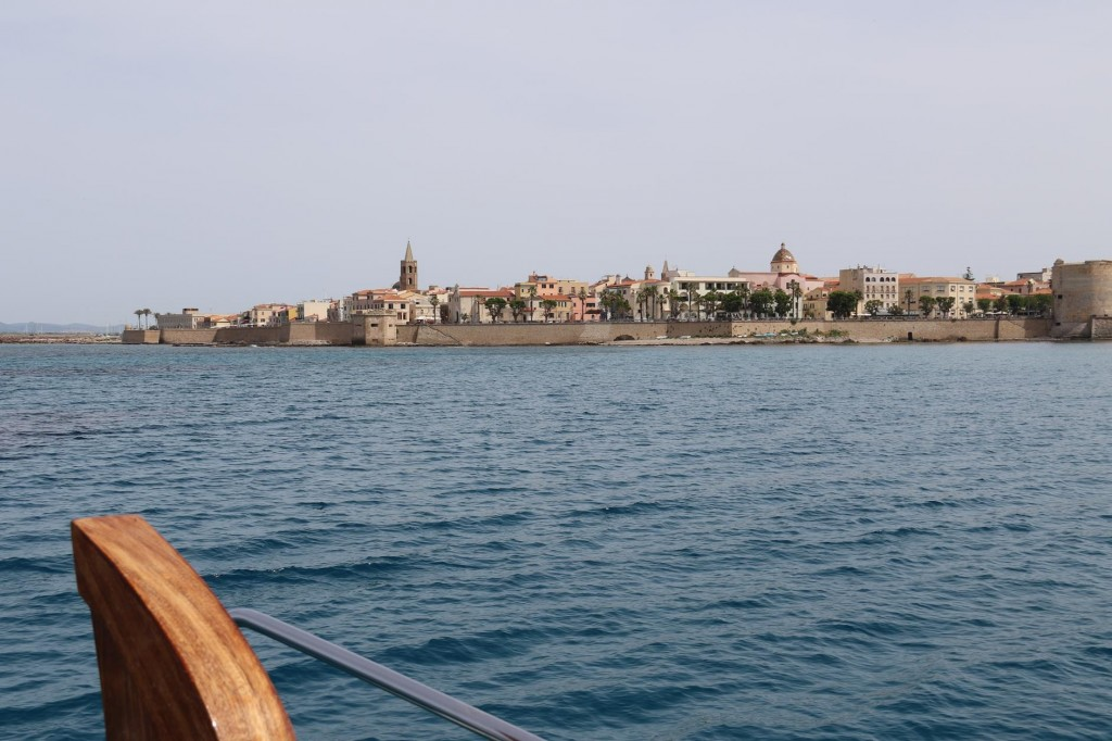After 3.5 hours of comfortable motoring, we approach the old walled town of Alghero