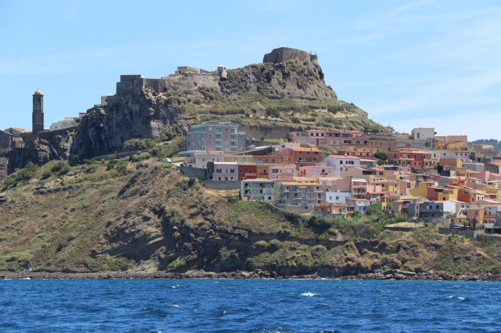 The castle on top of the hill on the rocky promontory certain has a domineering position over the small town
