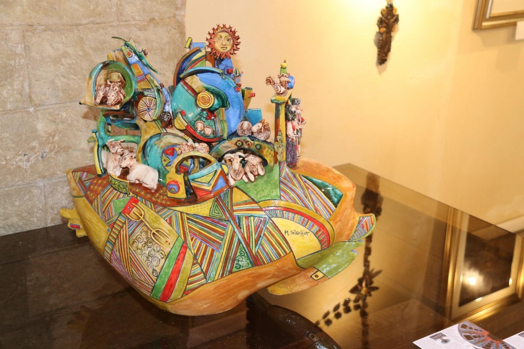 Once inside we were invited to view an exhibition of some amazing colourful Sardinia's ceramics