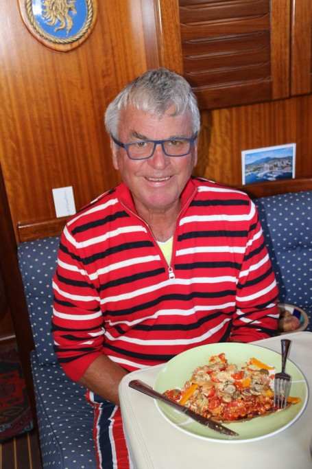 Ric cooked a well laden pizza for our early dinner tonight