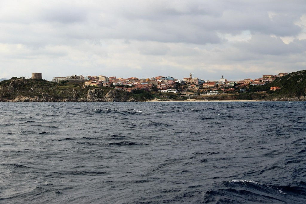 The seas were very choppy and confused as we approached the western side of nearby popular port of St Theresa Gallura
