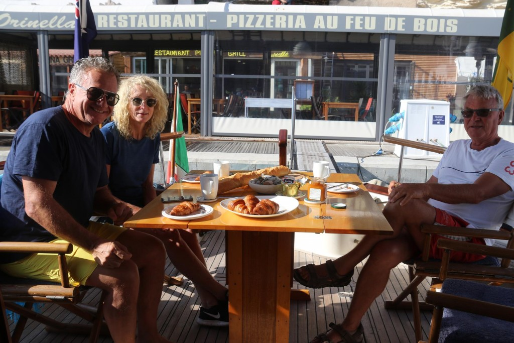 A wonderful French breakfast on the boat this morning