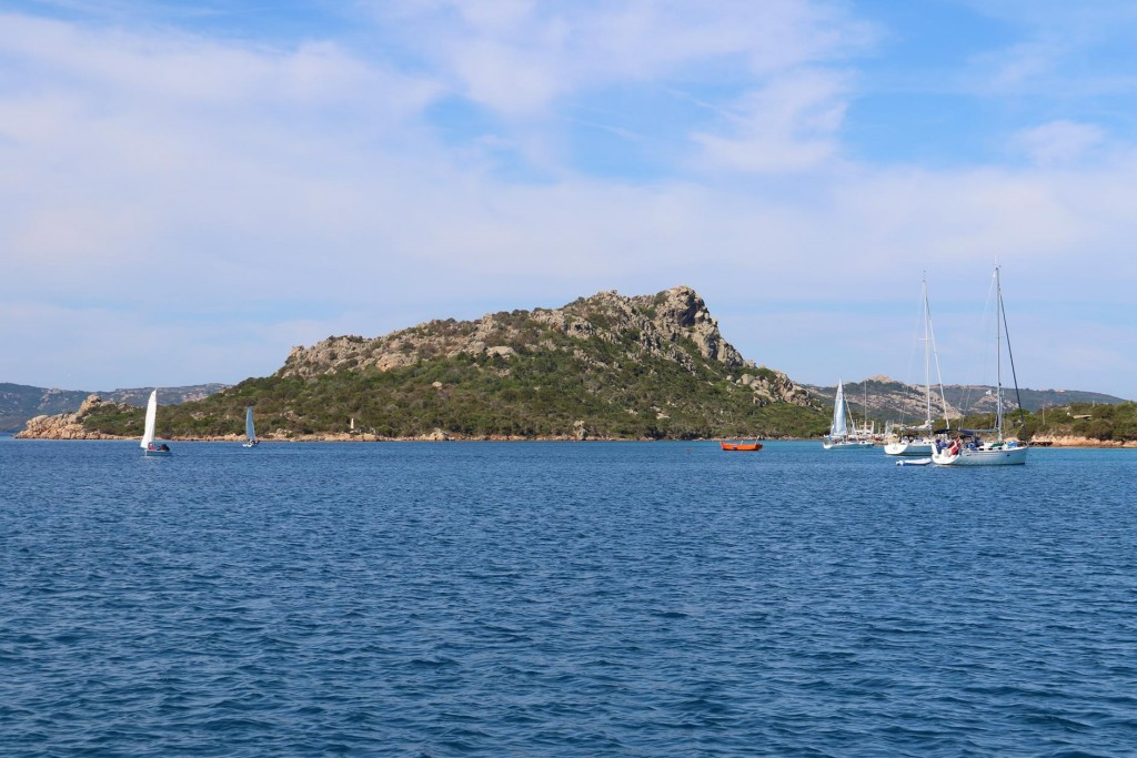 The sailing school begin their training for the day as we depart to go to another bay in south east of Isola Caprera