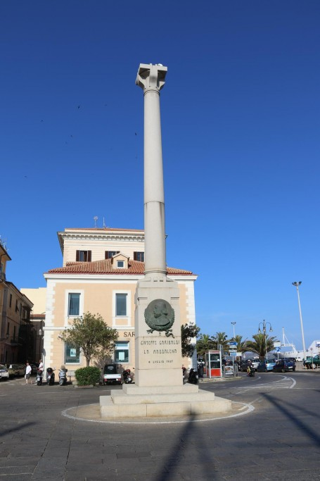 The Givseppe Garibaldi monument stands in prime position by the port