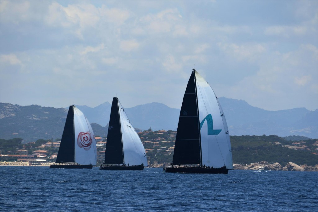 Passing through South Channel, south of Isola Caprera we come across one of the super yacht races out of Porto Cervo