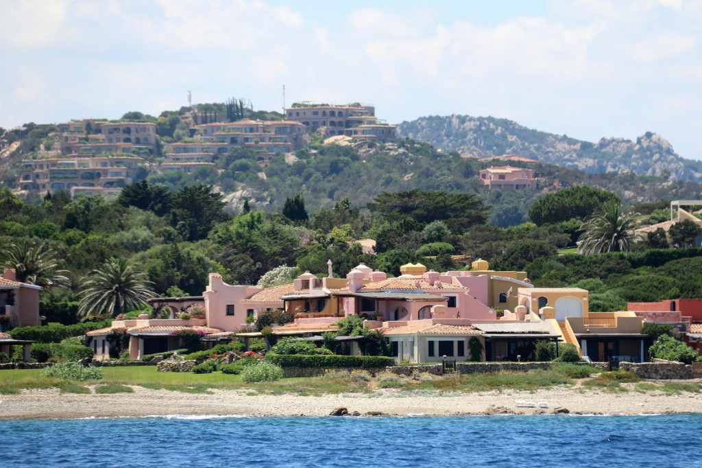 Directly ashore were a row of beach front mansions of the famous playground of the rich and famous, Porto Cervo