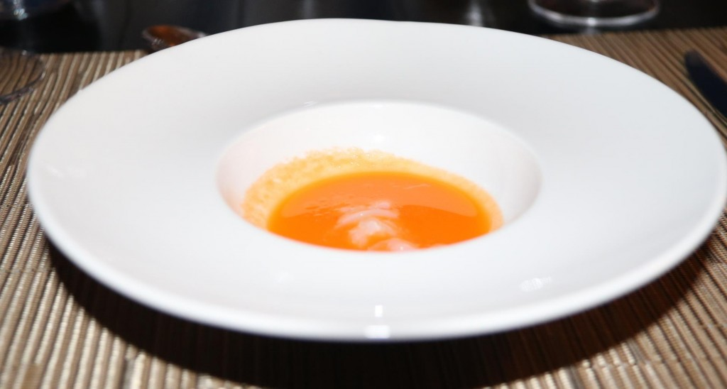 A small complimentary soup to start