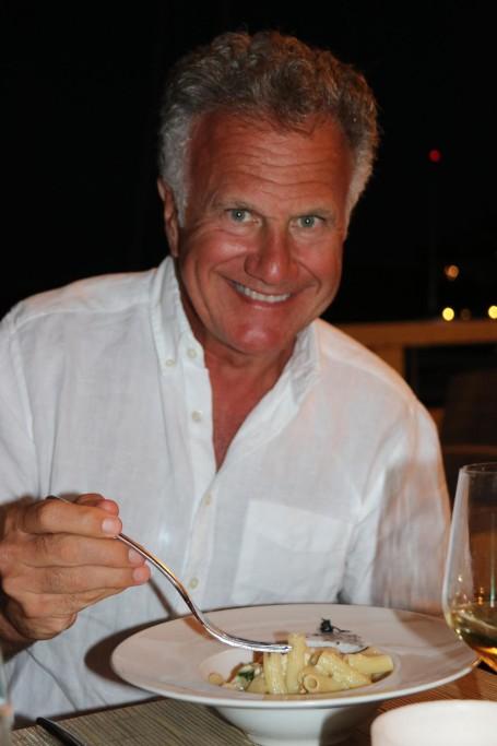 John orders a delicious pasta dish