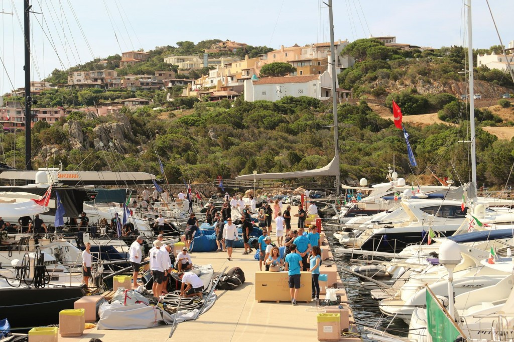 The Porto Cervo Marina is a hive of activity this morning before the yachts go out for their final race