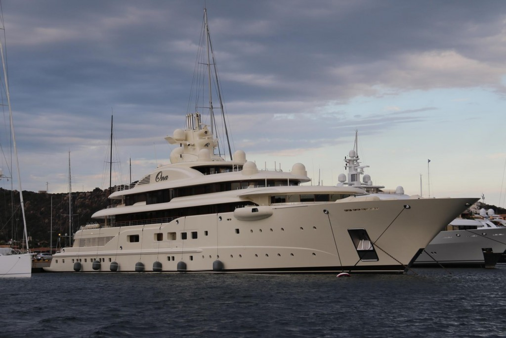 Ona, which is  one of the largest yachts in the world is 110 m long and has 48 staff for 12 guests